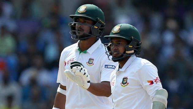 Shakib Al Hasan and Mushfiqur Rahim during day three of India vs Bangladesh one-off Test here. Get cricket score and highlights of India vs Bangladesh Test here.(BCCI)