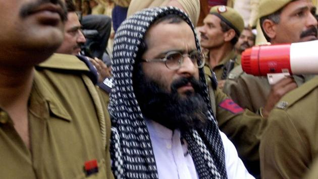 Mohammed Afzal Guru being produced in court in New Delhi on December 16, 2002. He was hanged on February 9, 2013.(Aman Sharma/AP)