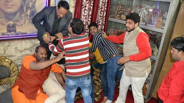 The temple authorities said that nearly 100 men had visited the temple for an event, during which an altercation arose.(HT Photo)