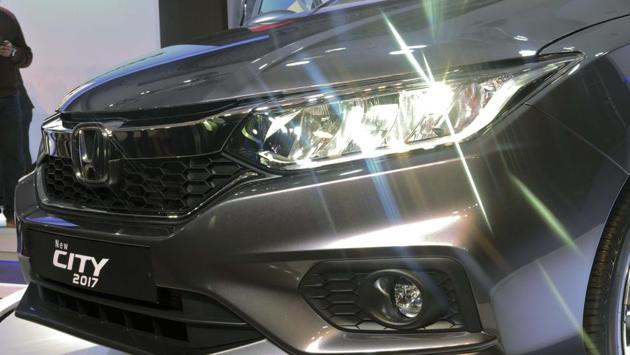 Front fitted with LED Head Lamp with LED DRL and Fog Lights in the All New Honda City. The front end has been revised significantly, with new LED headlights that are first in the segment, along with LED daytime running lights and fog lights. (Anmol Wahi / HT Photo)