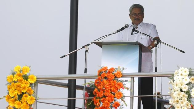 Defense minister Manohar Parrikar speaks at the opening ceremony of Aero India, 2017 at Yelahanka air base in Bengaluru on Tuesday.(AP Photo)