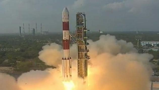 ISRO's PSLV C37 lifts off from Satish Dhawan Space Center in Sriharikota on February 15, 2017. This is the launch vehicles 39th journey to space.(DD National)