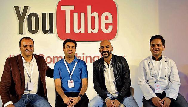 (From left) Satya Raghavan, Ranjit Kumar, Sahil Khattar and Yaman Agarwal in Chandigarh on Wednesday.(Keshav Singh/HT Photo)