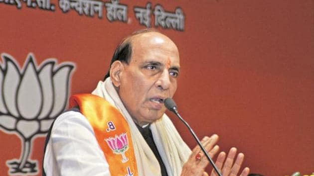 In all his speeches in Lucknow Rajnath Singh has been both articulate and forceful.(HT File Photo)