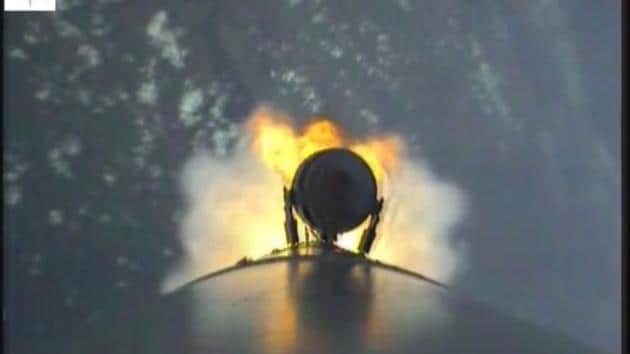 A screenshot from the video taken by the cameras fitted on the PSLV .(Screengrab/ isro.gov.in)