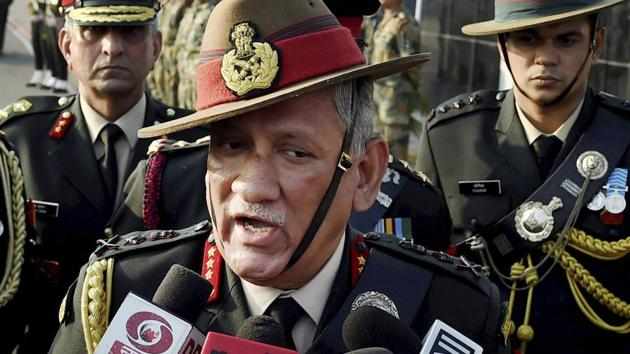 Army Chief General Bipin Rawat on Wednesday said that people interfering during anti-militancy operations in Jammu and Kashmir will be considered anti-nationals and will face action.(PTI file)