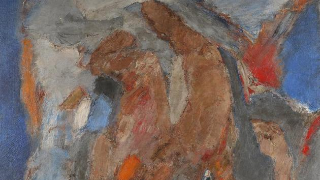 The highest price at the auction was fetched by the late Tyeb Mehta's Falling Figure (1965), an oil on canvas that went for Rs 6 crore.(HT)