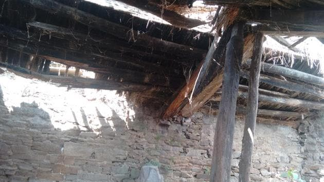 The ceiling of a house (above) completely eaten up by termites in Lambari.(HT Photo)
