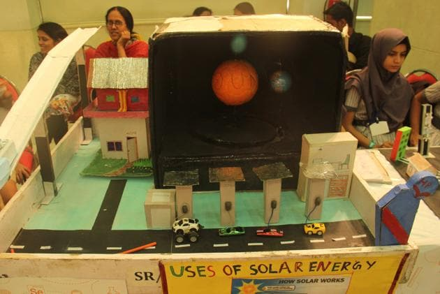A project on display at Young Energy Saver event organised by Reliance Energy at MVM Education Campus, Andheri in Mumbai, on Saturday.(Pramod Thakur/HT PHOTO)