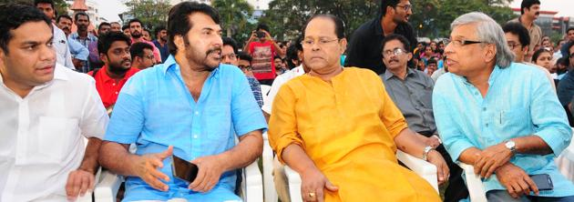 Actor Mammootty and other members of Kerala's film fraternity at a protest meet in Kochi on Monday condemning the assault on the Malayalam actress.(HT Photo)
