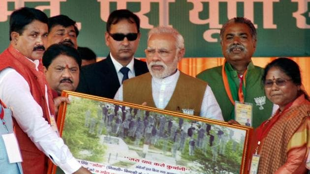 Prime Minister Narendra Modi at an election rally in Fatehpur on Sunday.(PTI Photo)