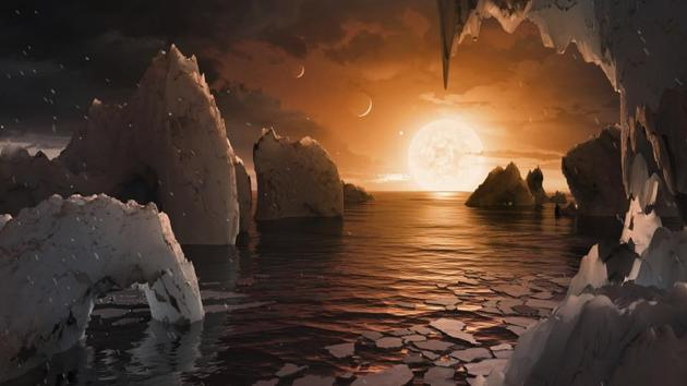 An artist's conception of what the surface of the exoplanet TRAPPIST-1f may look like, based on available data about its diameter, mass and distances from the host star.(Photo: Nasa)