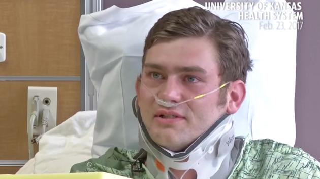 Ian Grillot was shot through the arm and chest.(Video screengrab/The University of Kansas Health System)