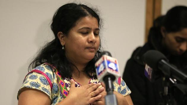 Sunayana Dumala talks about her late husband, Srinivas Kuchibhotla, during a news conference at Garmin Headquarters in Olathe, Kansas City.(AP Photo)