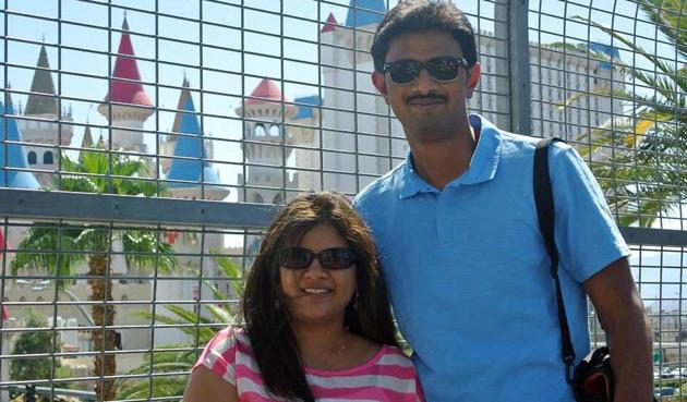 Aviations engineer Srinivas Kuchibhotla (right) with his wife Sunayana Dumala. The Indian techie died after being shot at in an apparent race attack at a Kansas bar.(AP file)