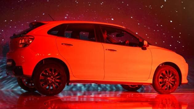 Available as a single variant model, the new Baleno RS gets a 1.0 litre BoosterJet petrol engine mated to a 5-speed manual gearbox. (Sonu Mehta/HT PHOTO)