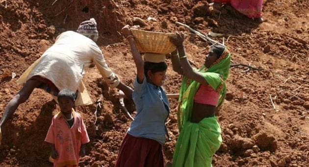 Lakhs of workers, engaged in the centre-sponsored job guarantee scheme, are facing acute financial crisis due to non-payment of their wages.(HT file photo)