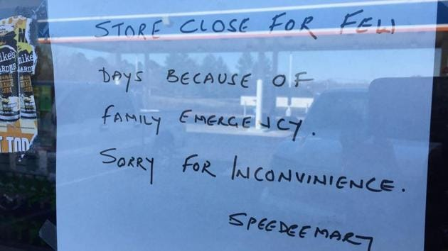 A sign on Harnish Patel's Speed Mart store in Lancaster, South Carolina. Patel was shot dead outside his house.(Photo credit: Greg Suskin's Twitter handle)
