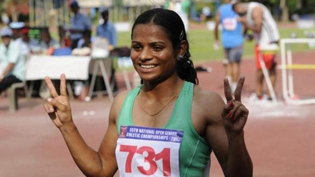 Dutee Chand's national record, which she set in Almaty before securing the berth for Rio 2016, will not be considered.(Hindustan Times)