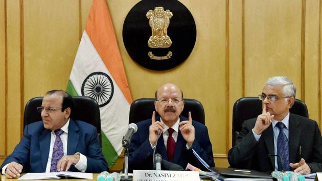 Chief election commissioner Nasim Zaidi, along with election commissioners Achal Kumar Jyoti and Om Prakash Rawat in New Delhi.(PTI FILE PHOTO)