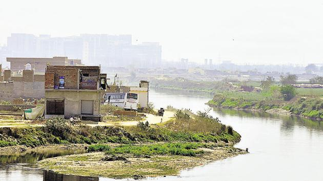 The Hindon merges with the Yamuna in Sector 150 of Noida, after flowing through Noida and Greater Noida.(Sunil Ghosh/HT Photo)