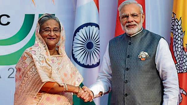 Prime Minister Narendra Modi with his Bangladeshi counterpart Sheikh Hasina in October 2016.(File Photo)