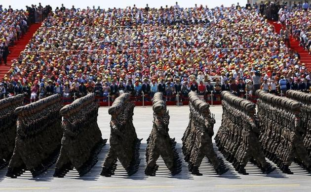 Soldiers of China's People's Liberation Army (PLA) march during the military parade to mark the 70th anniversary of the end of World War 2, in Beijing, China, on September 3, 2015.(Reuters)