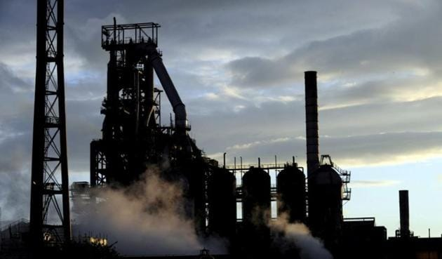 One of the blast furnaces of the Tata Steel plant is seen at sunset in Port Talbot, South Wales.(Reuters file photo)