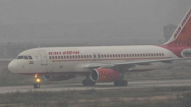 An Air India plane at the Chandigarh airport, January 16, 2017.(Keshav Singh / HT Photo)
