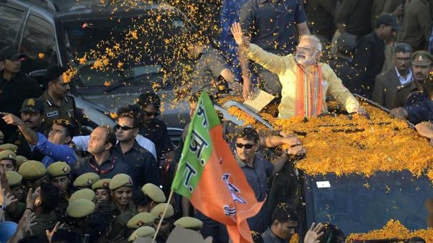 An integral part of the BJP's campaigns across the five states are banking on Prime Minister Narendra Modi to sway the tide in the party's favour as it works towards a 'Congress-mukt Bharat' (Congress-free India).(Arun Sharma/HT Photo)