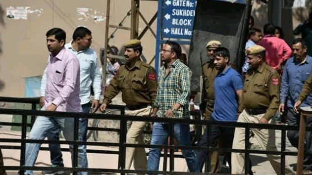 Maruti case accused at Gurgaon's district court complex on Friday.(Sanjeev Verma/HT Photo)