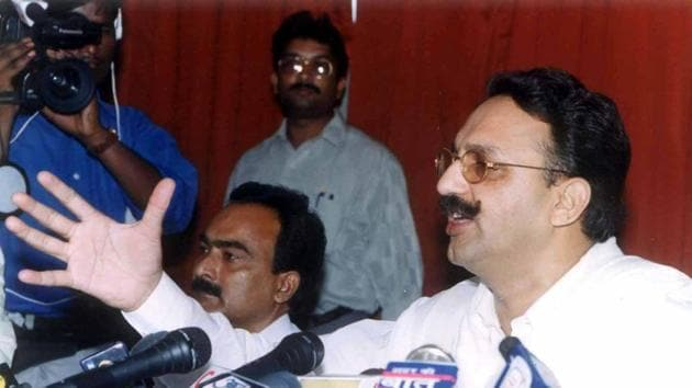 Mukhtar Ansari addressing a press conference in Lucknow.(PTI)