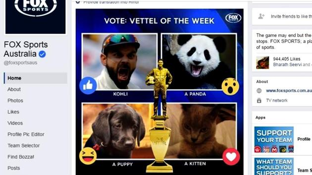 Virat Kohli was nominated for the 'Vettel of the Week' awards in which his face has been put up with other animals in a collage.(Fox Sports Australia Facebook)