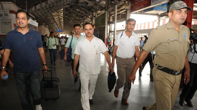 During the course of the investigation, Tomar was taken to the university in Bihar, where he claimed to have graduated from.(Ashok Dutta/HT Photo)