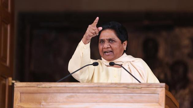 BSP chief Mayawati at a press conference in Lucknow after on March 11, the day election results were announced. Mayawati's BSP failed to perform well in the UP assembly elections.(Deepak Gupta/HT Photo)