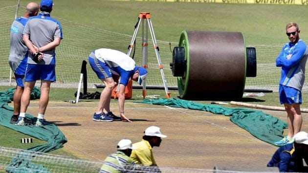 Australia cricket team captain Steve Smith inspects the pitch on Wednesday, a day before the third Test vs India cricket team in Ranchi.(PTI)