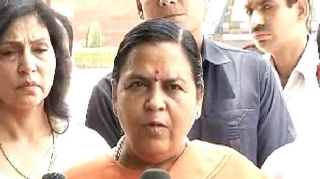 Union water resources minister Uma Bharti introduced the Inter-State River Water Disputes (Amendment) Bill, 2017 in the Lok Sabha on March 14, 2017(HT)