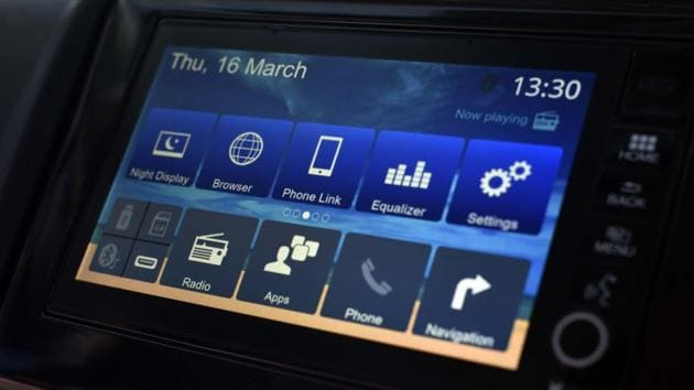 The new Honda WRV has a 7-inch touchscreen infotainment system that Honda calls DIGIPAD. One can also ask Honda to provide WiFi support with the DIGIPAD, inside the car as well. (Vipin Kumar/HT PHOTO)