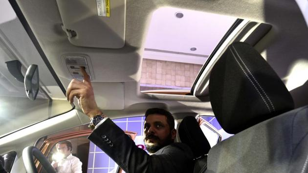 The top VX trim gets a sunroof and a reverse parking camera as well, with different views on the screen. (Vipin Kumar/HT PHOTO)