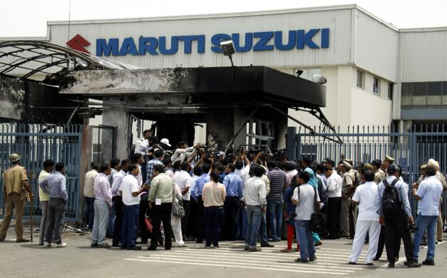 Violence ensued at the Manesar plant of Maruti Suzuki in 2012 after a tussle between workers and the management over various demands.(Manoj Kumar / HTFile Photo)