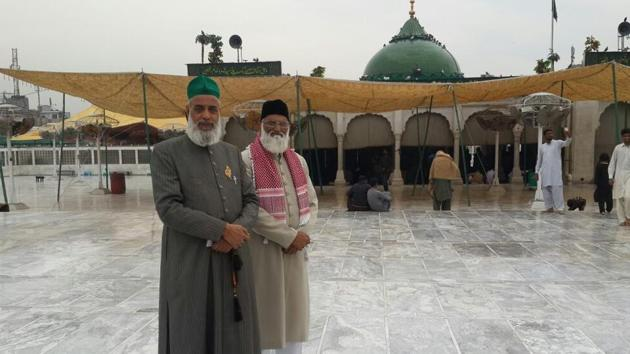 Photo of Nazim Ali Nizami (left) and Asif Nizami, both clerics from the Hazrat Nizamuddin dargah in Delhi, at a shrine in Pakistan's Punjab province. They were reported missing on Thursday.