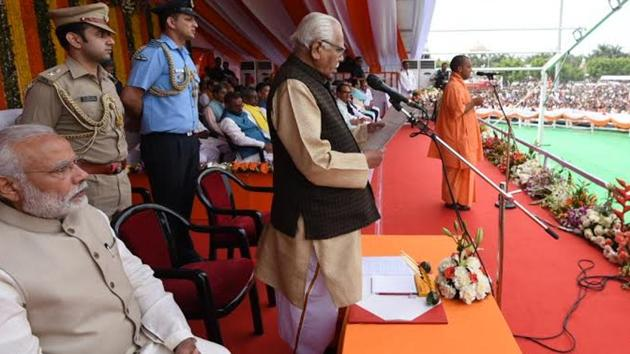 PM Narendra Modi attending the swearing-in ceremony of Yogi Adityanath as UP's chief minister in Lucknow.(Twitter/PIB India)