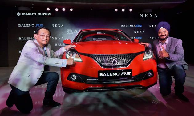 Kenichi Ayukawa, Managing Director & CEO, Maruti Suzuki at the launch of New Baleno RS with 1.0 litre Boosterjet Direct Injection Turbo Charged engine in New Delhi, along with R S Kalsi, Executive Director (Marketing & Sales) Maruti Suzuki.