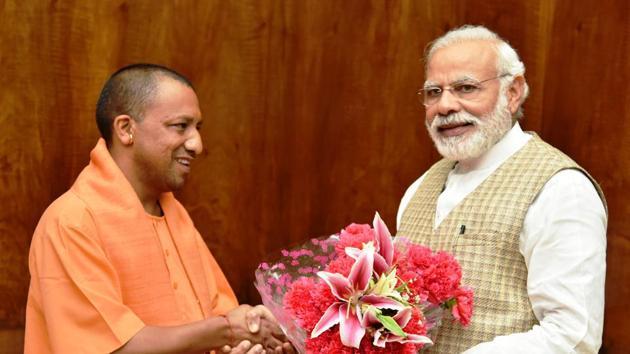 Uttar Pradesh chief minister Yogi Adityanath meet Prime Minister Narendra Modi in New Delhi on Tuesday.(PIB)