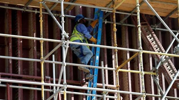 File photo of an Asian worker at the construction site of a building in Riyadh, Saudi Arabia, in August 2016.(Reuters)