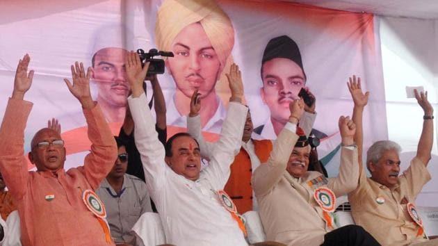 BJP senior leader Subramanian Swamy at the flagging-off ceremony for the Tiranga Yatra in Jamshedpur on Thursday.(Manoj Kumar / HT Photo)