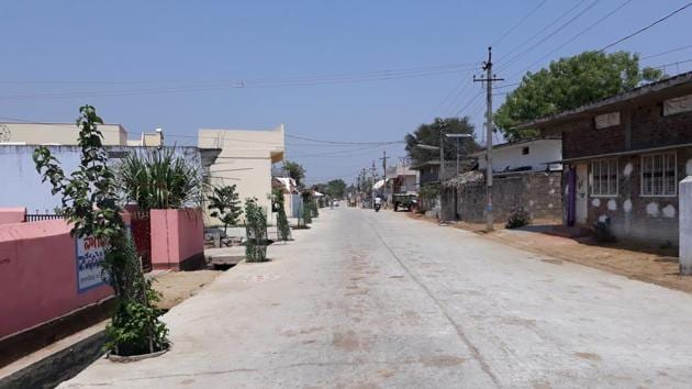 All lanes and bylanes in Gangadevipalli village in Telangana are cement-concrete roads with well-laid sewerage lines.(HT Photo)