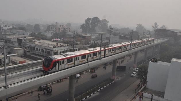 Lucknow metro awaits the railway ministry's nod to start commercial operations.(HT File Photo)