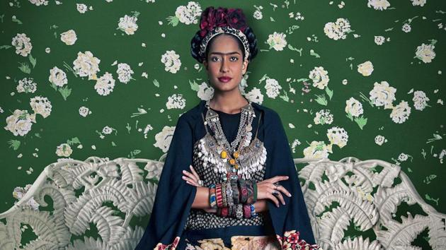 Frida on White Bench, (Lisa Haydon); Rohit Chawla, Archival pigment print; 2011(Photo courtesy: Tasveer)