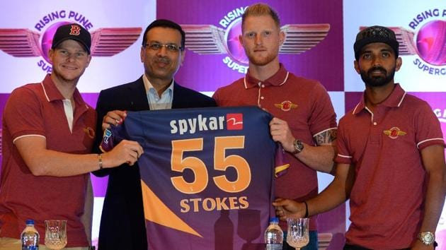 Rising Pune Supergiants introduce their marquee player Ben Stokes in New Delhi on Thursday. The England all-rounder will be a key member in skipper Steve Smith's team.(AFP)